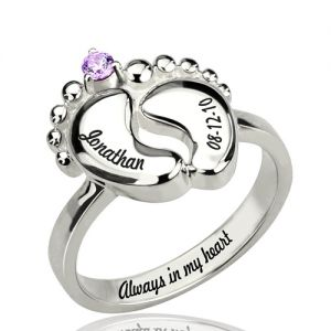 Engraved Date Baby Name Feet Ring with Birthstone