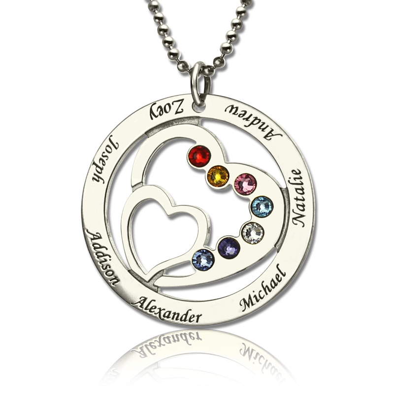 Circle Heart in Heart Grandma or Moms Necklace with Name & Birthstone