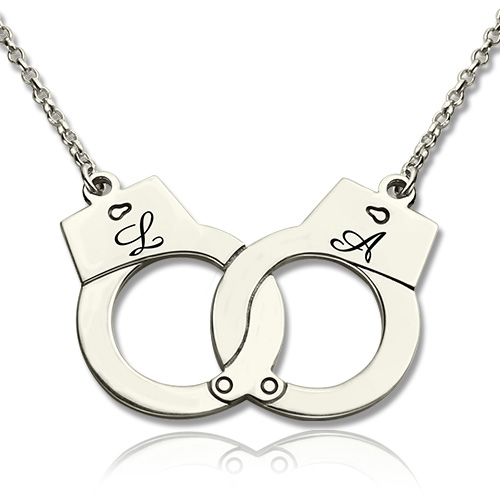 Engraved Initial Handcuff Necklace