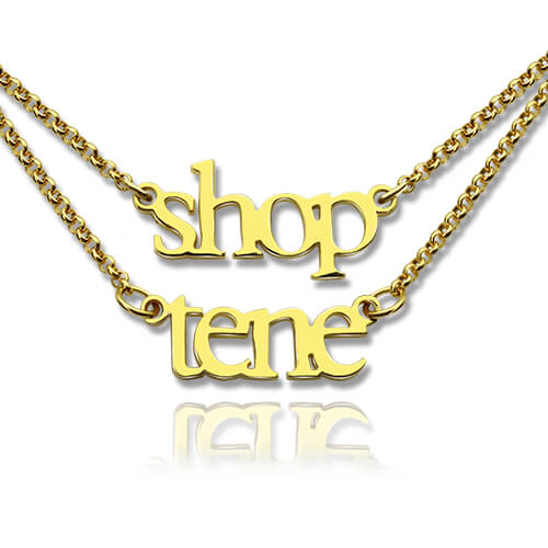 Gold Double Layer Mini Name Necklace