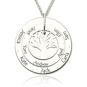 Engraved Name Disc Family Tree Necklace