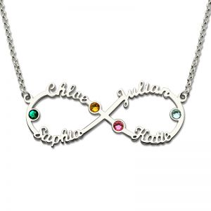 Four Names Infinity Necklace with Birthstone