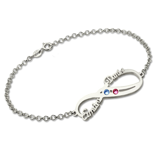 Infinity Bracelet with Double Names & Birthstones