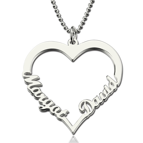 Cut Out Name Heart Necklace Personalized