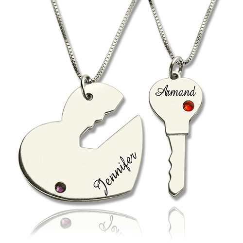 0ab9836f2b Key to My Heart Name Pendant Set For Couples