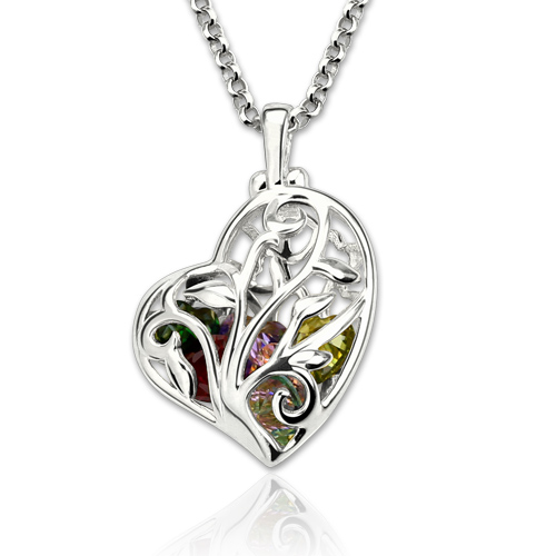Birthstone Valentines Gifts For Her - Heart Cage Necklace