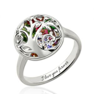 Round Cage Ring with Quote & Birthstones