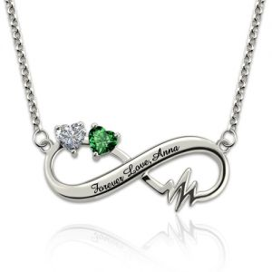 Personalized Infinity Heartbeat EKG Necklace With Birthstones