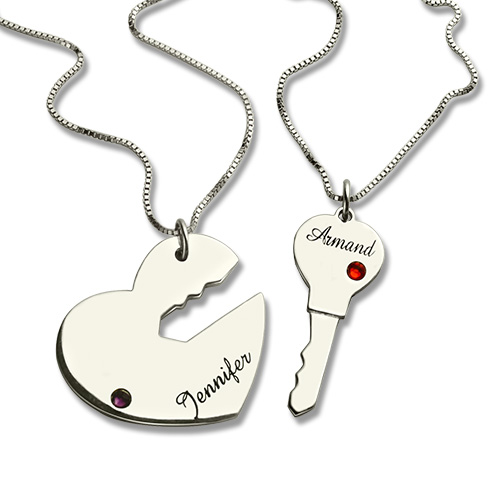 7b5a278174 Key to My Heart Name Necklace With Birthstone