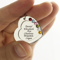 Heart Mother's Necklace with Names & Birthstones