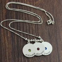 Disc and Birthstone Mother's Charm Necklace