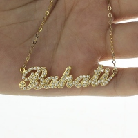 Personalized Gold Birthstones Name Necklace