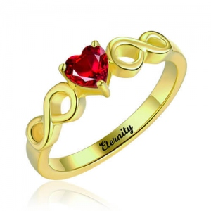 Infinity Ring With Heart Birthstone Gold Plated