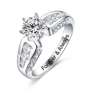 Engraved Gemstone Engagement Ring In Silver