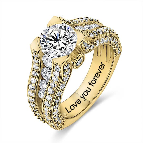 Engraved Gemstone Exclusive Bridal Ring In Gold