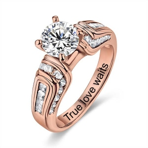 Engraved Round Gemstone Wedding Ring In Rose Gold