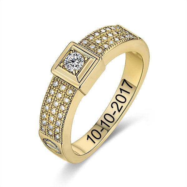 Engraved Gemstone Classic Engagement Ring In Gold
