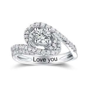 Engraved Round Gemstone Swirl Promise Ring In Silver
