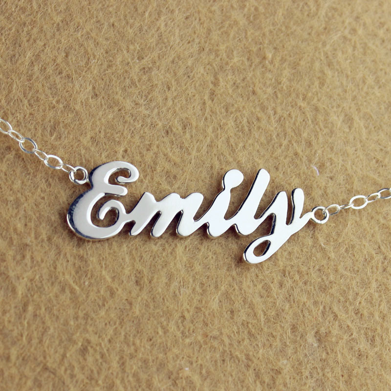 Custom cursive name necklace cheap letter necklace aloadofball