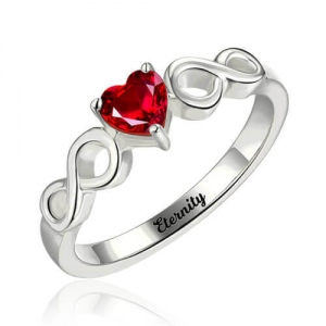 Infinity Ring With Heart Birthstone In Sterling Silver