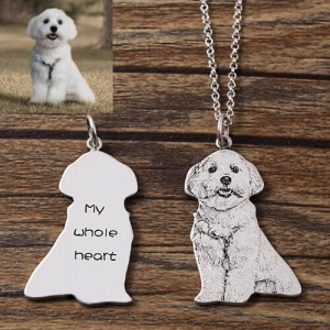 Custom Engraved Pet Photo Necklace