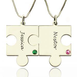 Puzzle Jigsaw Necklace Set Engraved Name