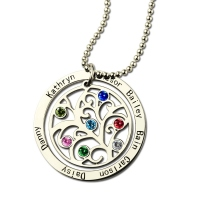 Circle Family Tree Necklace with Children's Name & Birthstone