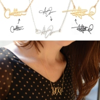 Gold Custom Your Own Handwriting Signature Necklace